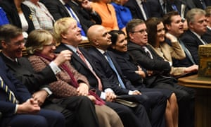 The Tory frontbench during the first sitting of parliament since the election