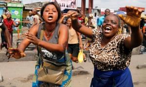 Residents chant slogans against President Joseph Kabila during demonstrations in the streets of Kinshasa.
