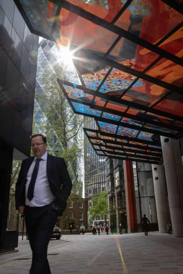 22 Bishopsgate's art-covered glass canopy at street level.