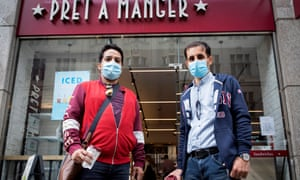 Nadeem Khan and Mati Ullah wear masks as they buy drinks in the same branch of Pret a Manger where Gove and Truss were seen