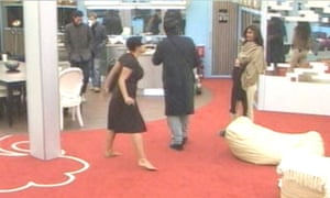 Goody, left, launches a tirade at Bollywood actor Shilpa Shetty, as Jermaine Jackson tries to get out of the way.