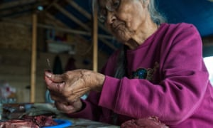 Laura Firth, a Tetlit Gwich'in elder from Fort McPherson, prepares caribou meat