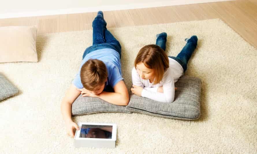 Children using tablet computer at home, Munich, Bavaria, GermanyChildren, Digital Tablet, Internet, Playing