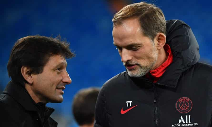 PSG's sporting director Leonardo (left) had disagreements on the club's recruitment strategy with Thomas Tuchel.