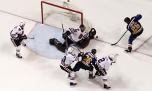 The Blues-Blackhawks playoff game was influenced by a replayed offside call.