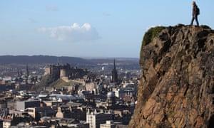 Arthur's Seat looking towards the castle and skyline of Auld Reekie, Edinburgh, Scotland.