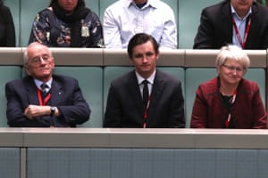 Tim Fischer's wife Judy Brewer, his son Dominic and brother Tony during the condolence motion