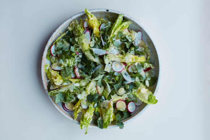 Anna Jones's spring onions and little gems with miso dressing.