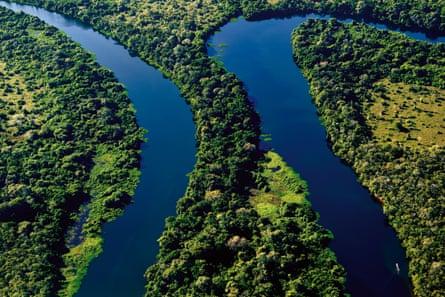Brazil, Pantanal: Aerial photography of Rio Claro during Cessna flight
