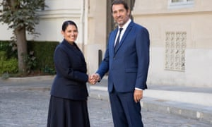 Home secretary Priti Patel with French interior minister Christophe Castaner.