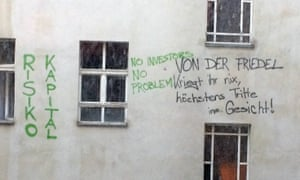 Graffiti on the outside wall of Friedel Strasse 54.