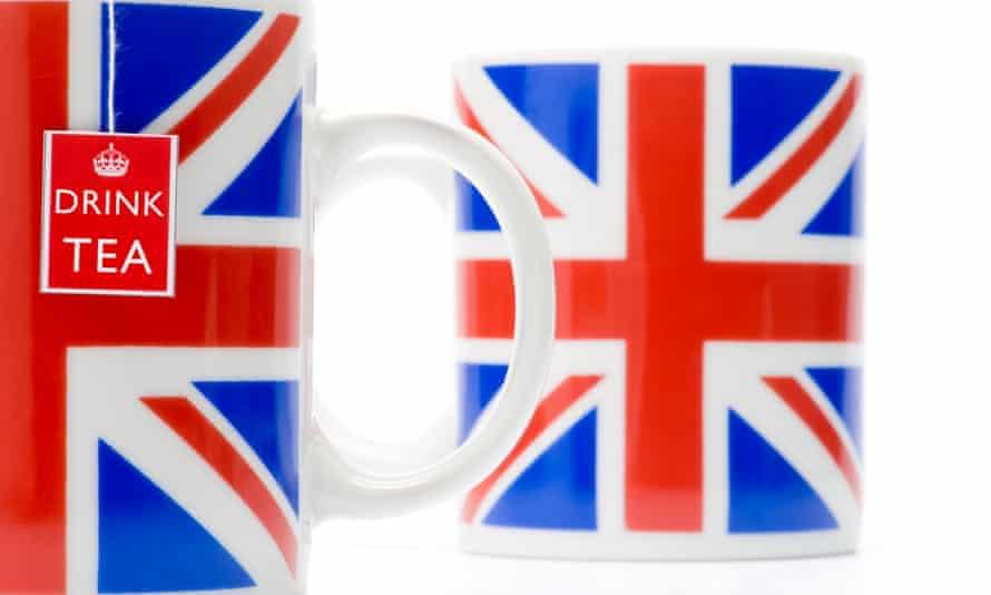 Union Jack mugs with a teabag
