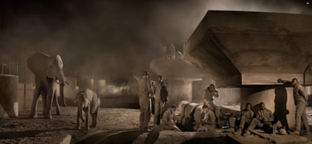 Bridge Construction with Elephants and Workers, by Nick Brandt