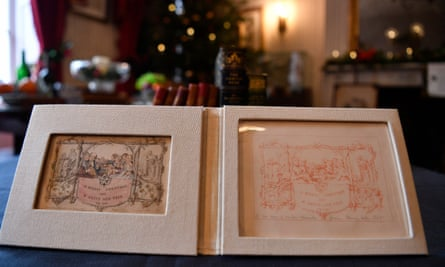 The world's first printed Christmas card, alongside the original proof.