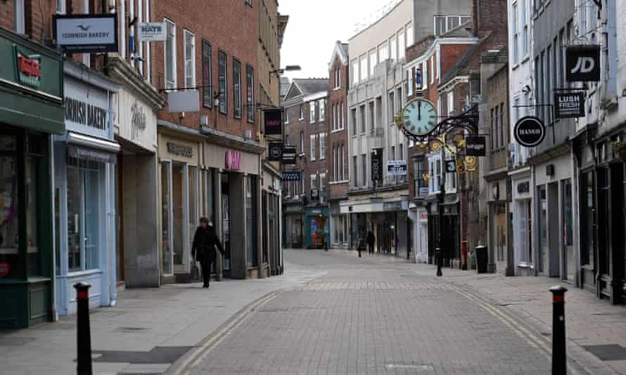 A deserted shopping street in York at the start of lockdown