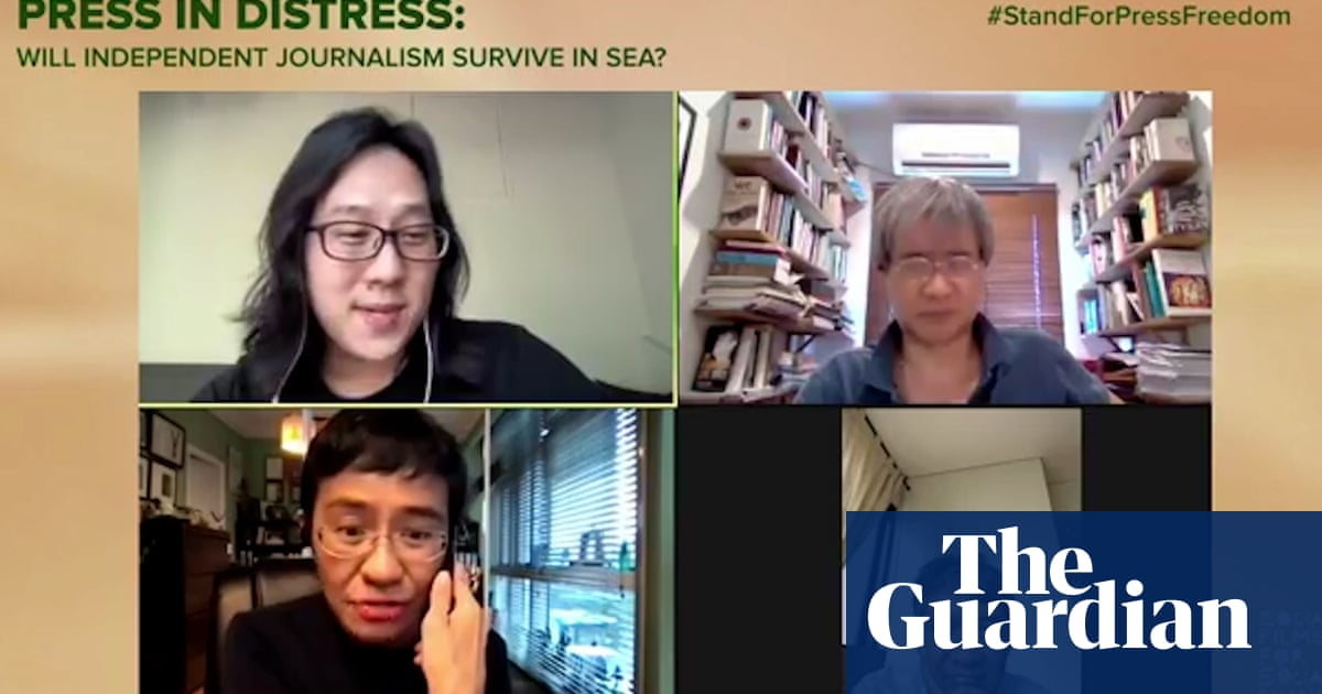 Moment Maria Ressa learns of Nobel peace prize win during Zoom call – video