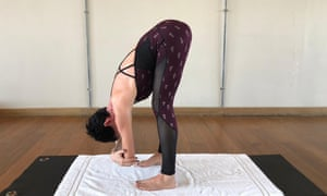 Yoga position to release tight shoulders.
