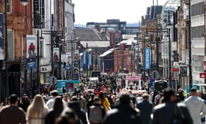 Shoppers on Briggate as non-essential retail reopened on April 12, 2021 in Leeds, United Kingdom.