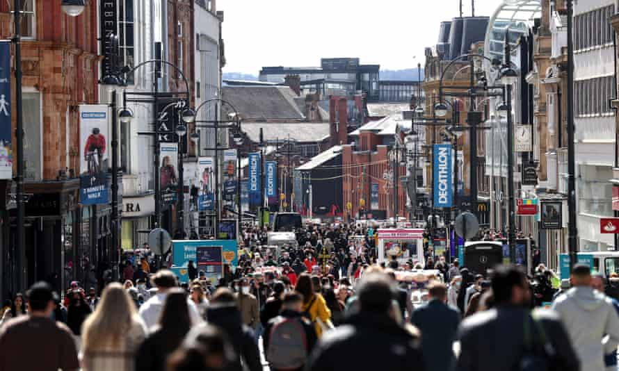 Shoppers on Briggate in Leeds on Monday.
