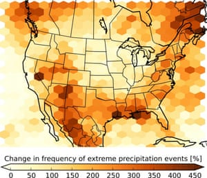 This figure shows the expected increase in the number of summertime storms that produce extreme precipitation at century's end compared to 2000-2013.