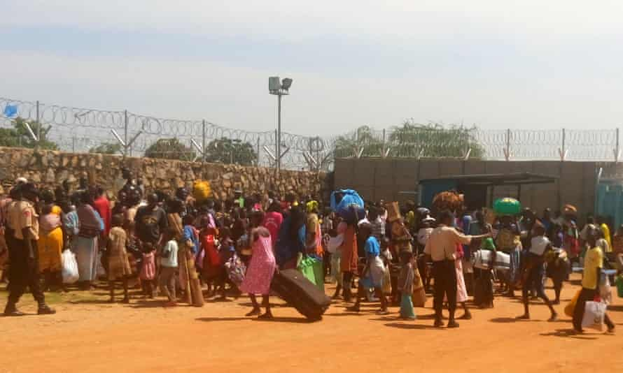 People seek shelter in the World Food Programme compound in Juba.