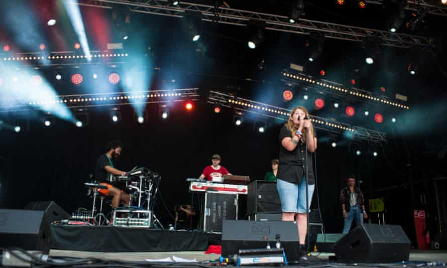Kate Tempest performs live on the Park stage at Glastonbury Festival