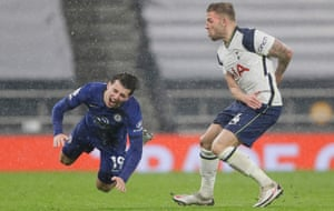 Toby Alderweireld picks up a booking for a foul on Mason Mount.