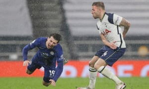 Toby Alderweireld picks up a booking for a foul on Mason Mount