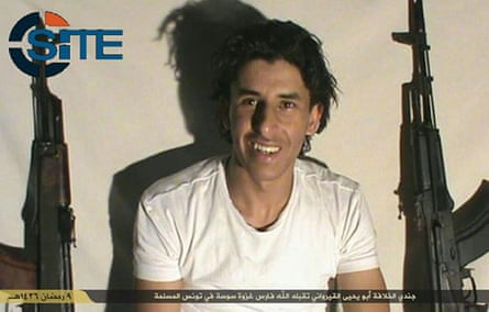 Screengrab taken from the Site Intelligence Group website purporting to show the Tunisian hotel gunman Seifeddine Rezgui.