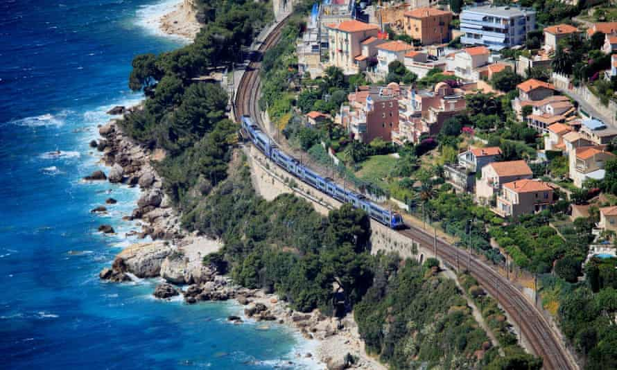 Train passing Roquebrune-sur Mer on the cote d'azur