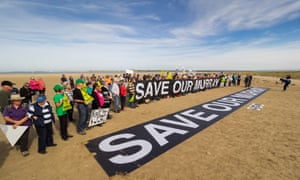 A protest at the Murray mouth near Goolwa last week