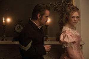 Elle Fanning as Alicia with Colin Farrell as John McBurney in The Beguiled.