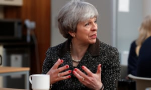 Theresa May visits a textile factory in Ayr, Scotland, on a tour of the UK's four nations.