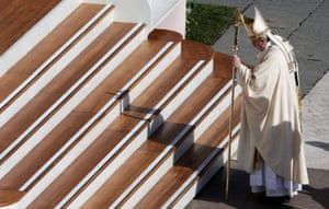 Pope about to climb some steps