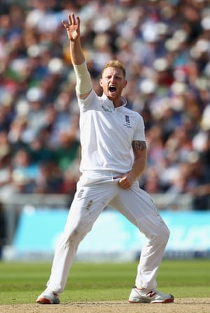 Ben Stokes appeals for Nevill's wicket. It's reviewed, but strikes Nevill on the pad.