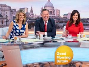 Shiny and provocative … ITV Good Morning Britain presenters Charlotte Hawkins, Piers Morgan and Susanna Reid.