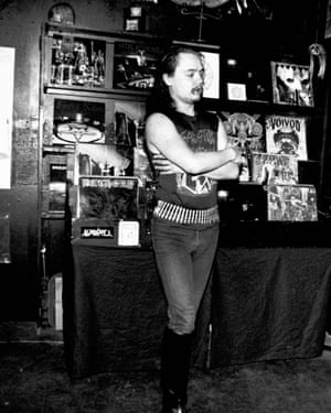 Euronymous in his record store.