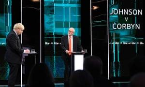Jeremy Corbyn And Boris Johnson take part in the In ITV leaders' debate
