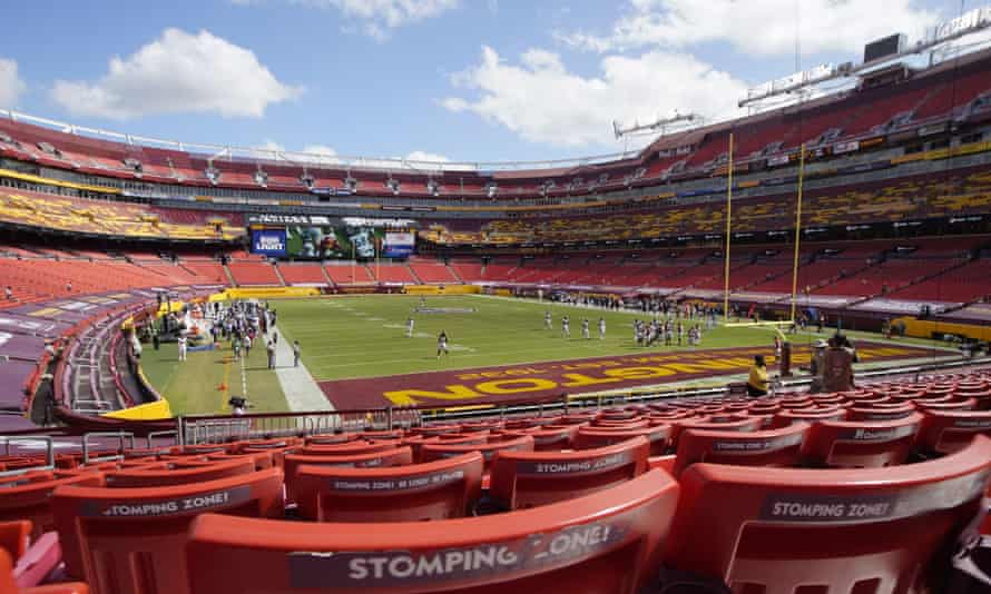 Fedex Field, seen during an NFL game during the coronavirus pandemic.