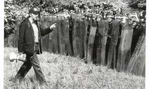 In 1984 a mass picket took place at the Orgreave Coking Plant in South Yorkshire. Documenting the event was photographer Don McPhee, who joined the Guardian staff in 1971. In this image, McPhee captures President of the National Union of Mineworkers Arthur Scargill, facing a line of riot police. McPhee's archive, held by the Guardian, shows the breadth of his creative talent across a range of subjects although he took particular interest in politics and trade unions. Image: Don McPhee, 1984. GNM Archive ref: GUA/6/9/1/3/S Box 1