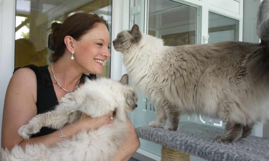 Two furry cats and woman