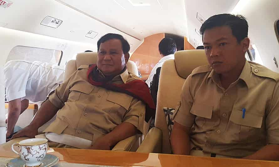 Indonesian presidential candidate Prabowo Subianto on his private jet.