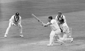 Rest of the World fielders Mike Procter  and Eddie Barlow of South Africa and wicketkeeper Deryck Murray of West Indies look on as England's captain Ray Illingworth hits out at Edgbaston