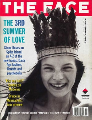 The Face cover from July 1990 edited by Sheryl Garratt and featuring Kate Moss.