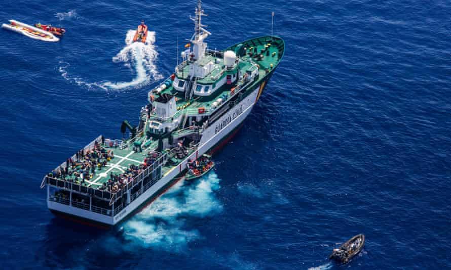 The boat Rio Segura of the Spanish Guardia Civil, during rescue operations in the Meditarranean Sea in 2017.