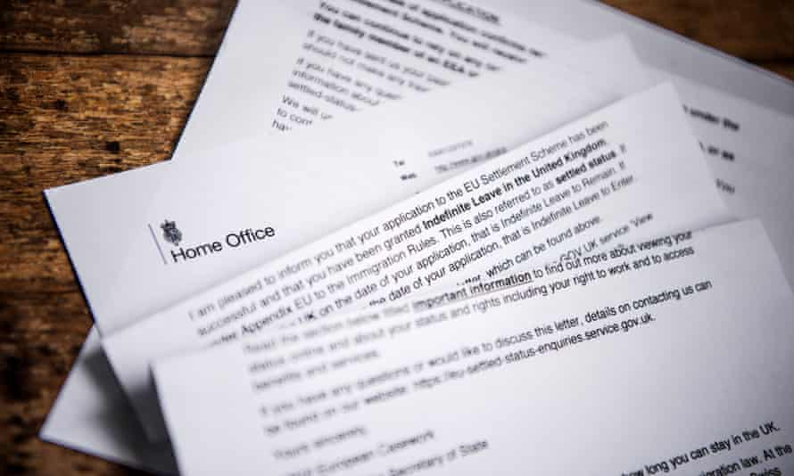 A letter from the Home Office confirming that a person has been granted settled status.