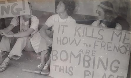 Joan Yee, Claire Slatter, and Vanessa Griffen at a sit-down protest in Suva, 1970s (Supplied)