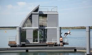 A floating house on Geierswalder lake, east Germany