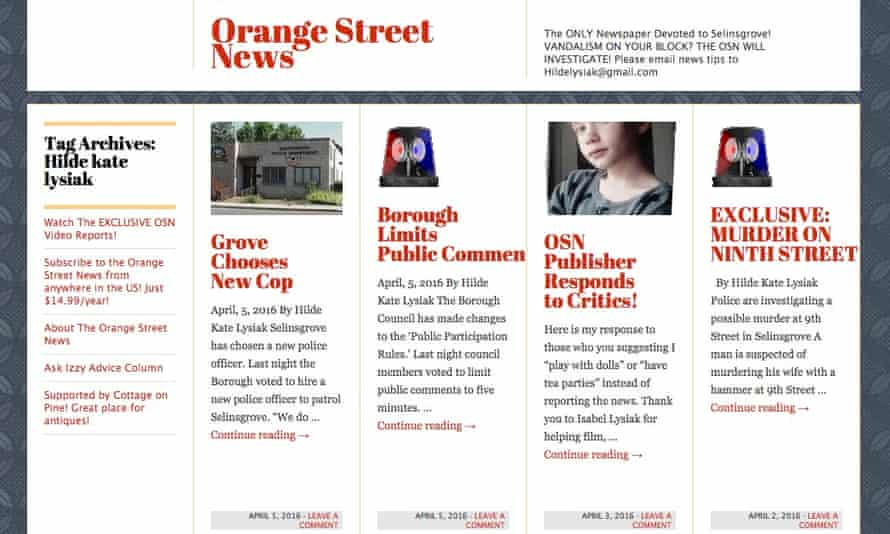 A screenshot of the Orange Street News website, run by nine-year-old Hilde Kate Lysiak.