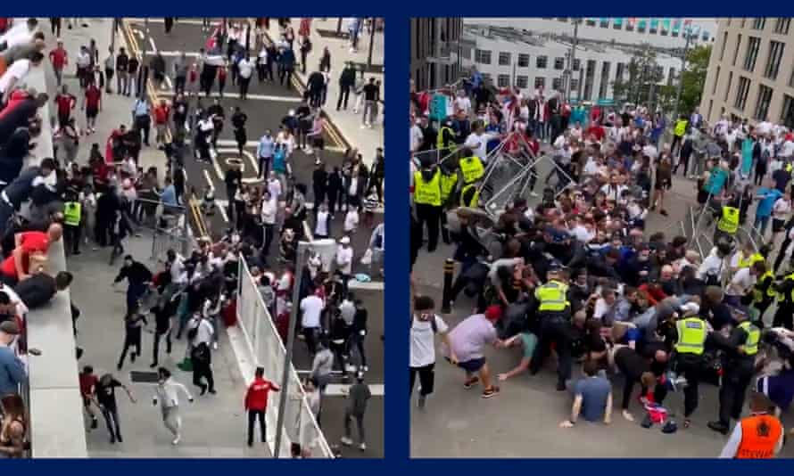 England fans force their way into Wembley.